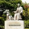 徳川慶喜・徳川斉昭公像(水戸市千波湖畔)